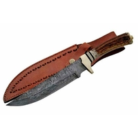 Poignard lame en damas 20cm, couteau bois de cerf