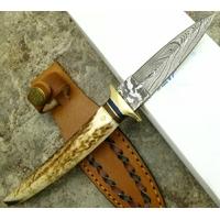 Poignard 22cm lame en damas - Couteau bois cerf