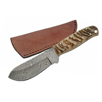 Couteau avec lame damas - poignard corne de bélier
