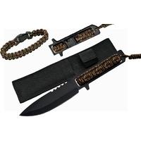Poignard tactique 27cm + bracelet paracorde