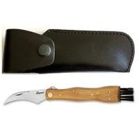 Couteau serpette + étui cuir + réglette + brossette