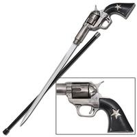 Canne épée 95cm de marche - métal revolver4