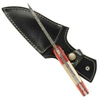 Poignard 22cm lame damas + étui cuir - couteau2