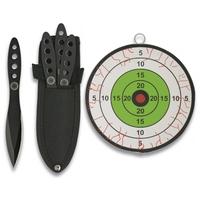 3 Couteaux de lancer 15,2cm + cible jet couteau