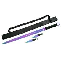 Katana ninja 71cm et 2 kunaïs - épée full tang