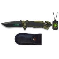 Couteau pliant militaire 20cm - Inclus plaque + étui