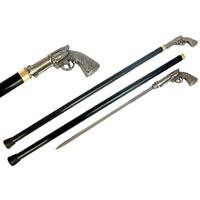 Canne épée 93cm pistolet revolver de marche - métal