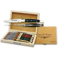 Coffret LAGUIOLE 6 couteaux 13cm, pic apéritif - couteau compact
