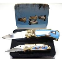 Coffret acier + 2 couteaux pliants - Couteau canard