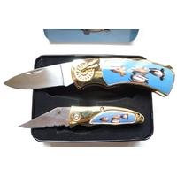 Coffret acier + 2 couteaux pliants - Couteau canard.