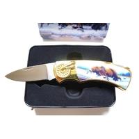 Couteau pliant design Ours + coffret en acier.