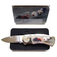 Couteau pliant design + coffret acier - Combat de coq