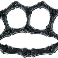 Poing americain noir style squelette PVC.