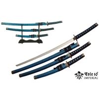 3 Katanas japonais + socle déco - katana bleu marbré