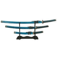3 Katanas japonais + socle déco - katana bleu marbré.