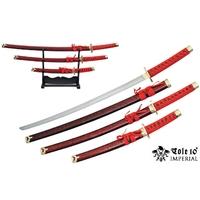 3 Katanas japonais + socle déco - katana rouge