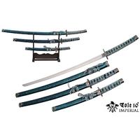 3 Katanas japonais + socle déco - katana bleu aqua
