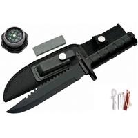 Poignard couteau 29cm tactique noir - kit survie