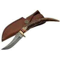 Poignard couteau 22cm lame damas - Bois de cerf