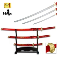 Lot 3 katanas dragon + socle déco - katana rouge