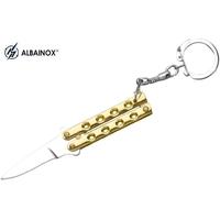 Balisong porte-clé 8,8cm - Couteau papillon doré