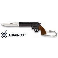 Couteau porte-clé pliant 12,5cm - Revolver noir acier