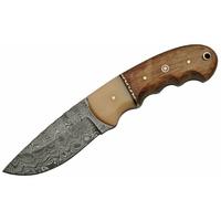 Poignard 21cm lame DAMAS - Couteau en bois et os.