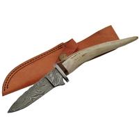 Poignard 24cm lame DAMAS - Couteau en bois de cerf