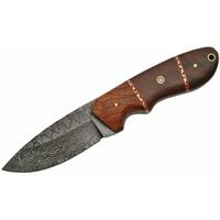 Poignard 21cm lame DAMAS - Couteau en bois et micarta.