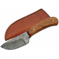 Poignard 15,2cm lame DAMAS - Couteau compact en bois