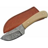 Poignard 15,2cm lame DAMAS - Couteau compact en os