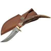 Poignard 21,7cm lame DAMAS - Couteau en bois de cerf