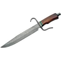 Grand poignard 42cm lame DAMAS - Couteau en bois.