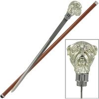 Canne épée 89cm de marche - Design bulldog chien