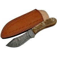 Poignard couteau 22cm lame DAMAS - Damascus corne bélier