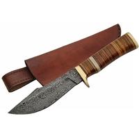 Poignard couteau 25,4cm lame DAMAS - Damascus cuir laiton