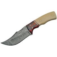 Poignard couteau 20,5cm lame DAMAS - Damascus bois et os.