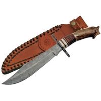Grand poignard couteau 34cm DAMAS + garde-main