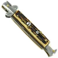Grand couteau Italien 24cm automatique à cran d'arret cerf.