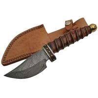 Poignard couteau 25cm lame DAMAS - Design bois laiton