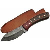 Poignard couteau 21cm lame DAMAS - Bois laiton