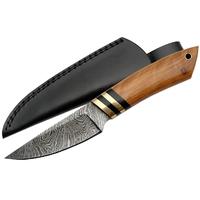 Poignard couteau 22cm lame DAMAS - Bois d'olivier