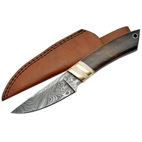 Poignard couteau 22cm lame DAMAS - Bois noisetier laiton