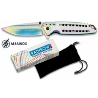 Couteau pliant ALBAINOX titane rainbow 21,5cm + pochette