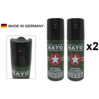 Lot de 2 bombes lacrymogènes 60ml GAZ - Lacrymo NATO