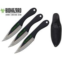 3 Couteaux de lancer 16,5cm couteau - Zombie BIOHAZARD