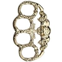 Poing américain acier inox - Design Squelette doré.
