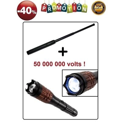 Lot Taser 50 000 000 volts + Matraque 50,5cm = PROMO -40% - Copie