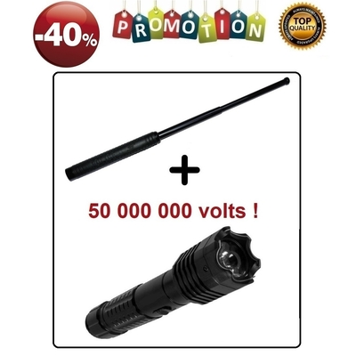 Lot Taser 50 000 000 volts + Matraque 50,5cm PROMO -40%