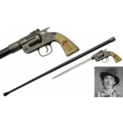 Canne épée BILLY THE KID revolver 93,5cm de marche
